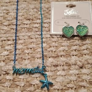 Justice mermaid necklace and earrings